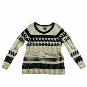 American Eagle Outfitters Sweater Womens Small White Black Cable Knit Pullover